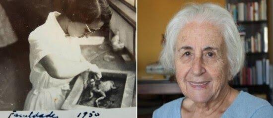 Neuza (à esquerda) com 20 anos, em 1950, durante experimento no curso de História Natural da USP; à direita, 70 anos depois com o mesmo ímpeto pelos estudos